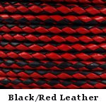 Black & Red Braided Leather Bolo Cord