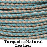 Turquoise & Natural Braided Leather Bolo Cord
