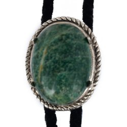 African Jade Rope Edge Bolo Tie