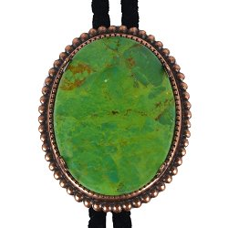 Mojave Green Turquoise Beaded Edge Bolo Tie
