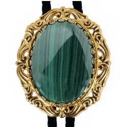 Malachite Antique Scroll Bolo Tie