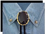 Black Onyx Twisted Edge Bolo Tie - Large