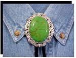 Mojave Green Turquoise Antique Scroll Bolo Tie