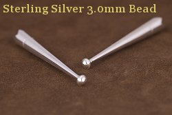 Sterling Silver 3.0mm Bead Bolo Tips
