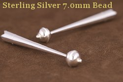 Sterling Silver 7.0mm Bead Bolo Tips